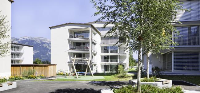 Aussenaufnahme der Wohnüberbauung Wijermatt in Kerns.